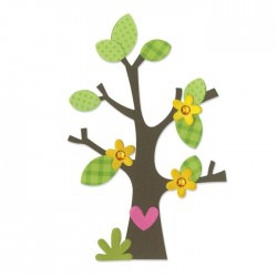 Albero Fustella Sizzix Bigz Die - Tree, Flower, Heart & Leaves 660404