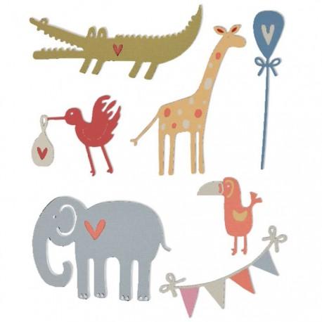 Animali Baby Fustelle Sizzix Thinlits Die - Baby Animals 661226