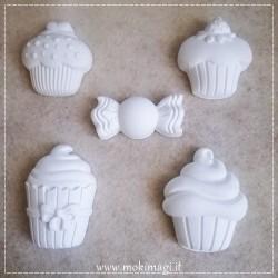 Cupcakes + Caramella - Set Gessetti Profumati in ceramica bianca