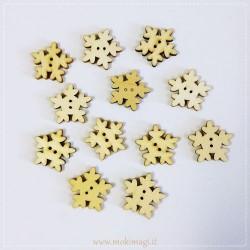 Fiocco di Neve - Bottoni in Legno - 12 pezzi