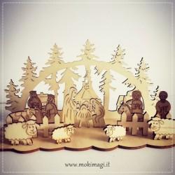 Presepe in Legno - Presepe Natale Componibile Completo 20x10x8 cm