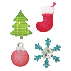 Fustella Decorazioni Natalizie Sizzix Bigz Die - Christmas Tree, Ornament, Snowflake & Stocking A10599