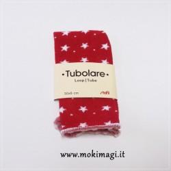 Tubolare Rosso stelle Bianche - 30cm x 8cm