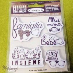 """Timbro  """"Famiglia"""" in Caucciù 10x10cm Stamperia WTKCC82"""