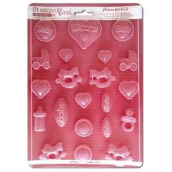 Stampo Baby Nascita Stampo morbido f.to A4 - Soggetti baby - Stamperia K3PTA407