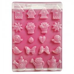 "Stampo Giardino e Casette - Stampo morbido formato A4 - ""Spring garden"" - Stamperia K3PTA446"