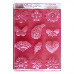 Stampo Fiori, Cuori e Farfalle - Stampo morbido formato A4 -  Stamperia K3PTA434