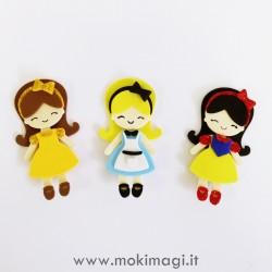 Bamboline Kawaii - Alice, Biancaneve, Belle in Gomma Crepla Assemblate o Fustellati - Principesse Kawaii