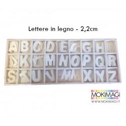 Lettere in legno - box da 130 pezzi - 2,2cm altezza Alfabeto in legno