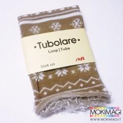 Tubolare Nordico - Tortora e Bianco - 30cm x 8cm - Tubolare Natalizio