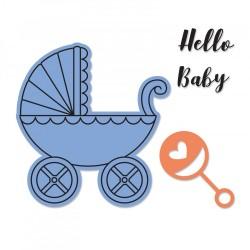 Fustella Sizzix Framelits Die Set 2 Pezzi più timbri - Baby Carriage 662906