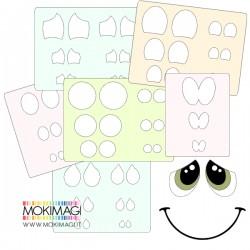 Stencil Occhi per Bambole - Stencil Visi - Set 15 mascherine