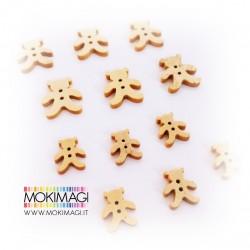 Bottoni Orsetti Baby Decorativi in Legno (12 pezzi)