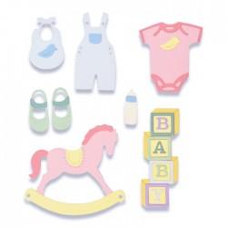 Fustelle Baby Sizzix Thinlits Die Set 12 pezzi - New Baby 2 663365