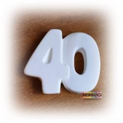 """Gessetto Numero 40 - Gessetto Profumato in ceramica """"40 anni"""" 3x3,5cm"""
