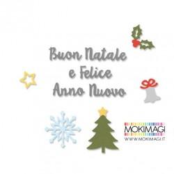 Fustella Sizzix Thinlits Die Set 12 pezzi - Auguri di Natale - Stafil 663303