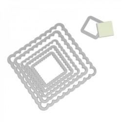 Fustelle Cornici Quadrate Decorative - Sizzix Framelits Die Set 6PK - Squares, Scallop 657566
