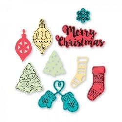 Fustelle + Timbri Natalizi Sizzix Framelits Die Set  - Christmas Classics 663670 Fustelle Natale
