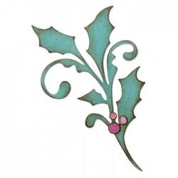Fustella Ramo Festivo di Agrifoglio - Sizzix Bigz Die - Seasonal Scroll 664216