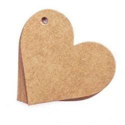 TAGS a Forma di Cuore in Carta Craft - 220 g. 100 pezzi per confezione - Etichette Carta Kraft