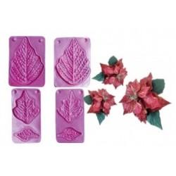 Stampo Stella di Natale e Foglie in Gomma Crepla - 3 forme