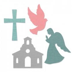 Fustella Chiesa - Sizzix Bigz L Die - Church Set 662122 Fustella Religiosa