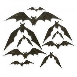 Fustella Pipistrelli Sizzix Thinlits Die Set 10 pezzi - Bat Crazy 664203 Set di Fustelle Metalliche