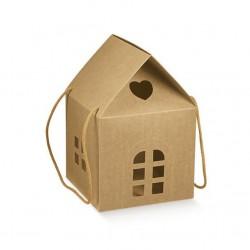 Scatola Casa Porta Panettone con Manico - Scatola di Cartone colore Avana 20cm