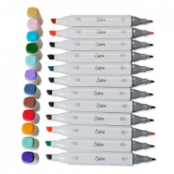 Pennarelli Indelebili Colorati Sizzix a Doppia Punta - Set 12 Sizzix Accessory – Permanent Pens 663056