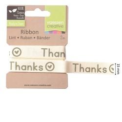 """Nastrino con scritta """"THANKS"""" 1,5cmx2metri"""