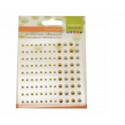Mezze Perle Adesive Oro e Argento 108 pezzi da 3 e 5 mm Lucide