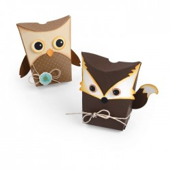 Scatola Gufo & Volpe Fustella Sizzix Thinlits Die Set - Box, Owl & Fox 661133