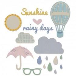 Sole e Pioggia Fustelle Sizzix Thinlits Die - RAINY DAYS & SUNSHINE 661232