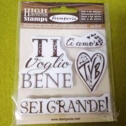 """Timbro  """"Ti voglio bene"""" in Caucciù 10x10cm Stamperia WTKCC84"""
