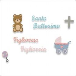 Sizzix Thinlits Die Set 9PK - Santo Battesimo 662618 Fustella Baby Orsetto Passeggino