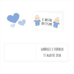 Bigliettini Battesimo Gemelli Personalizzati - Talloncini Battesimo Gemelli - 30 pezzi per confezione