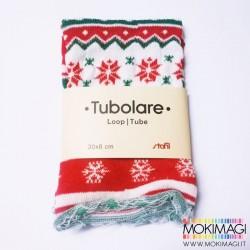 Tubolare Nordico - Bianco Rosso e Verde - 30cm x 8cm - Tubolare Natalizio