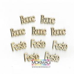 """""""Buone Feste"""" in Legno - Scritte in Legno Decorative (10 pezzi per confezione)"""