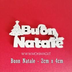 """""""Buon Natale"""" in Legno - Scritte in Legno Decorative - Buon Natale Bianco in Legno 2x4cm"""