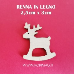 Renna in Legno - Decorazione di Natale 2,5x3cm