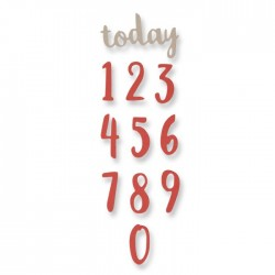 Fustella Numeri Sizzix Thinlits Die Set 11PK - Brush Numbers 661726