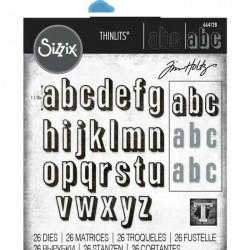 Alfabeto Sizzix Thinlits Die Set 26PK - Alphanumeric Shadow Lower by Tim Holtz 664728