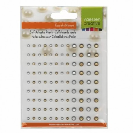Mezze Perle Adesive Oro e Argento 108 pezzi da 3 e 5 mm