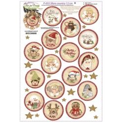 Pannello Sfere Country 12cm Nuovi Soggetti Idee per Creare - Kit Cucito Creativo (16 pezzi) Natale