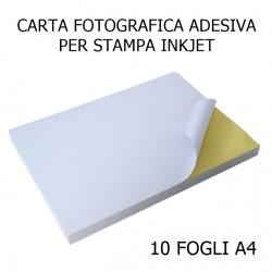 10 Fogli A4 Carta Adesiva Fotografica 135gr per Stampante Inkjet