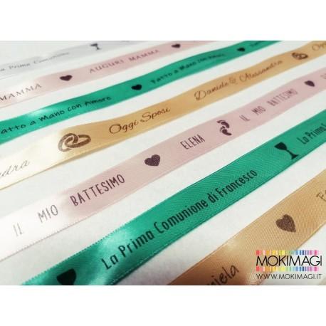 Nastro di Raso Personalizzato per Bomboniere, Confezioni, Eventi, Lavori Handmade. Altezza 2cm