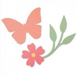 Fustella Sizzix • Bigz Die Garden Wings 664486 Fustella Giardino con Fiore, Farfalla e Ramo
