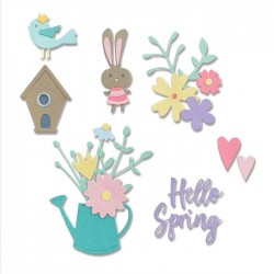 Fustella Ciao Primavera Sizzix • Thinlits die set Hello spring 665091