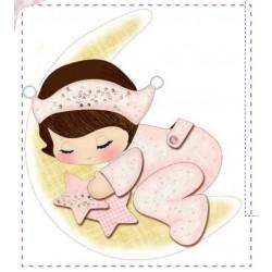 Pannello Coccarda Nascita Little Girl - Idee per Creare - Kit Cucito Creativo Fiocco Nascita Bimba con Luna