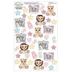 Pannello Motivi Baby 2 Idee per Creare - Kit Cucito Creativo (4 soggetti) Animali Baby Giungla